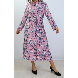 Buttoned dress with floral...