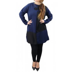 Two-tone black and blue tunic