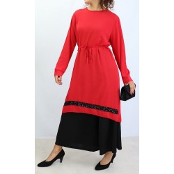 Crepe tunic with black...